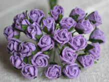 8mm LILAC VIOLET SEMI-OPEN ROSE BUDS Mulberry Paper Flowers